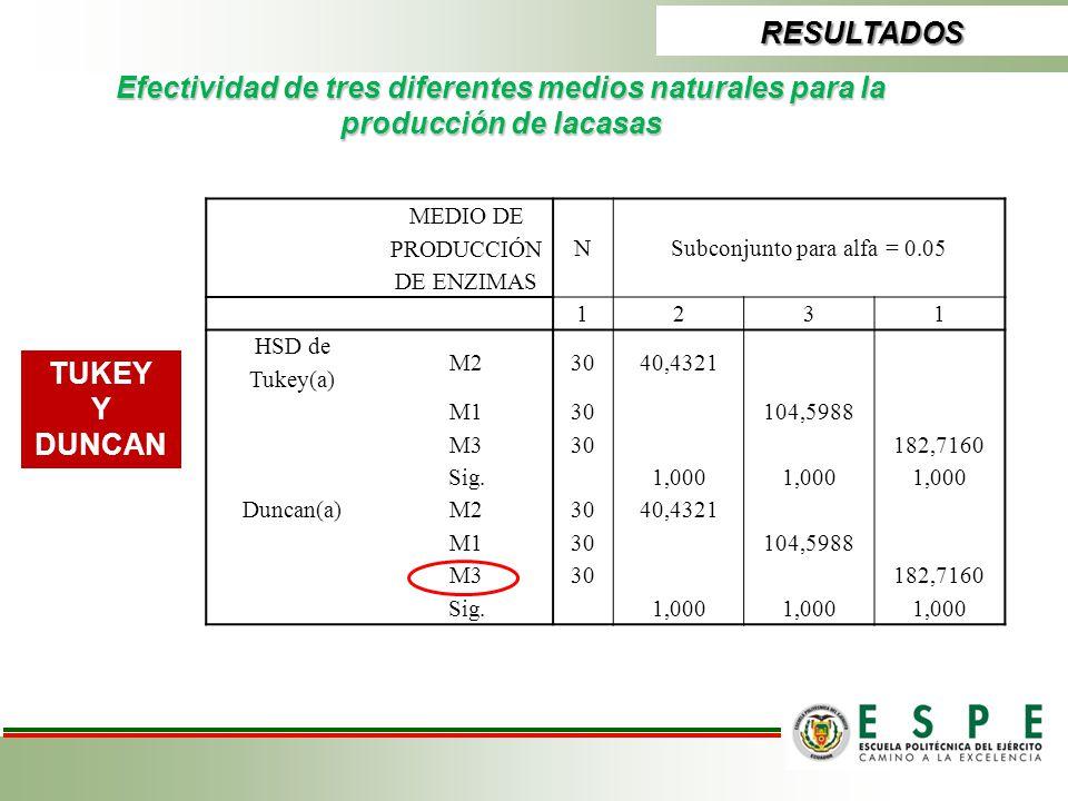 RESULTADOS Efectividad de tres diferentes medios naturales para la producción de lacasas. MEDIO DE PRODUCCIÓN DE ENZIMAS.