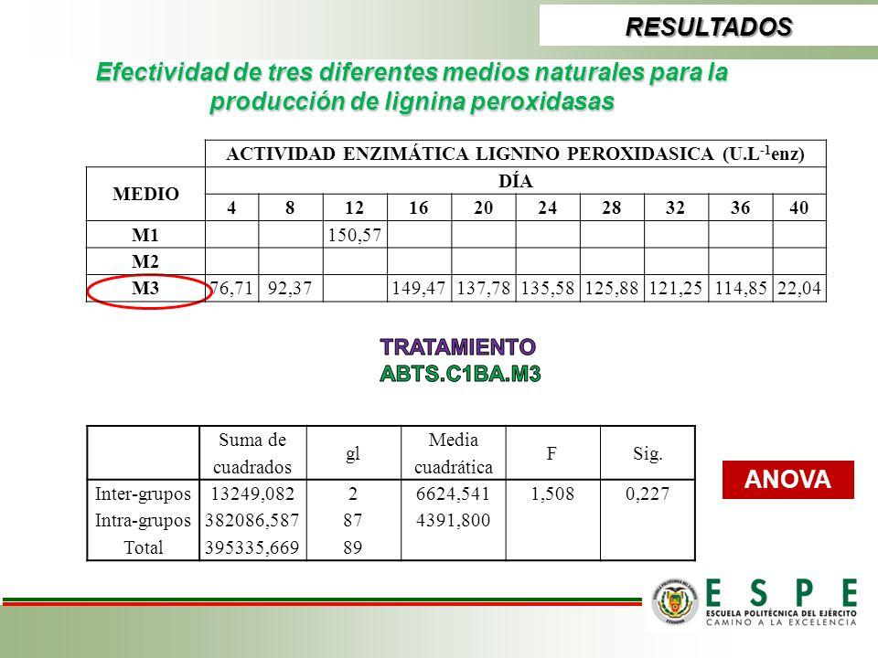 ACTIVIDAD ENZIMÁTICA LIGNINO PEROXIDASICA (U.L-1enz)