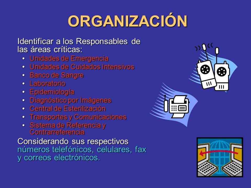 ORGANIZACIÓN Identificar a los Responsables de las áreas críticas: