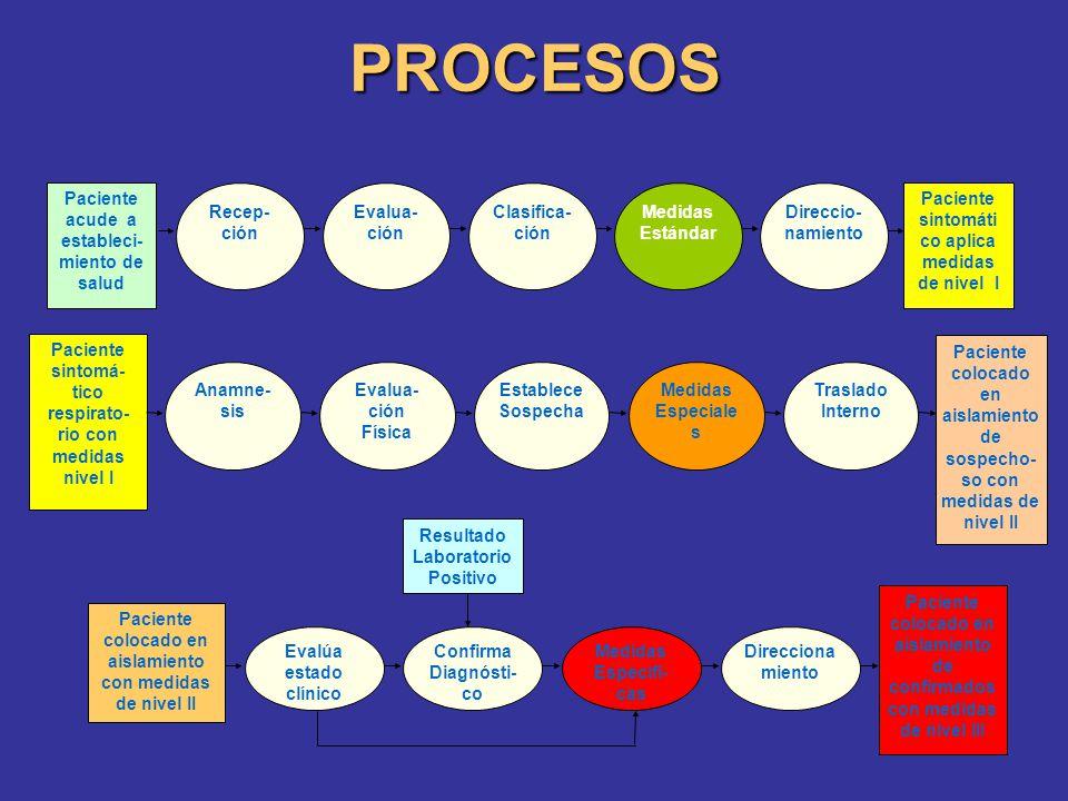 PROCESOS Evalua-ción Clasifica- ción Medidas Estándar