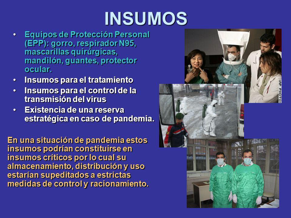 INSUMOS Equipos de Protección Personal (EPP): gorro, respirador N95, mascarillas quirúrgicas, mandilón, guantes, protector ocular.