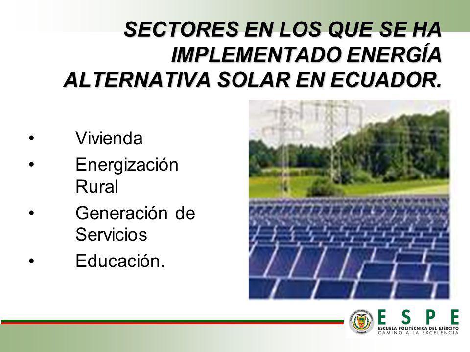 SECTORES EN LOS QUE SE HA IMPLEMENTADO ENERGÍA ALTERNATIVA SOLAR EN ECUADOR.
