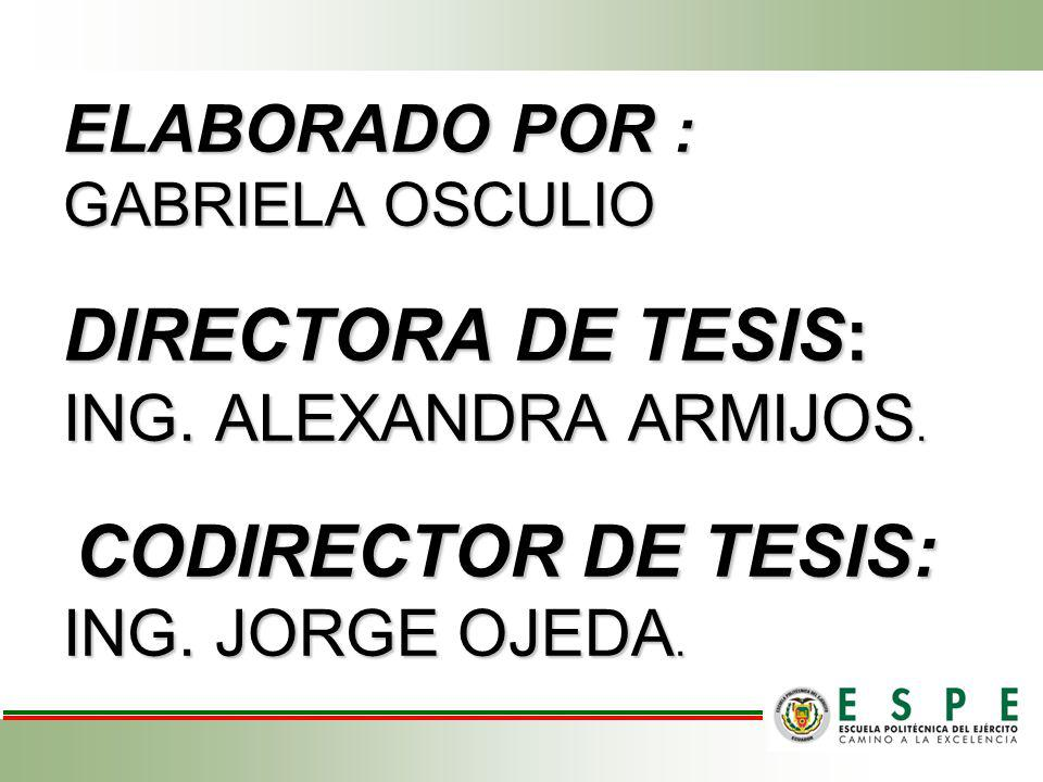 ELABORADO POR : GABRIELA OSCULIO DIRECTORA DE TESIS: ING
