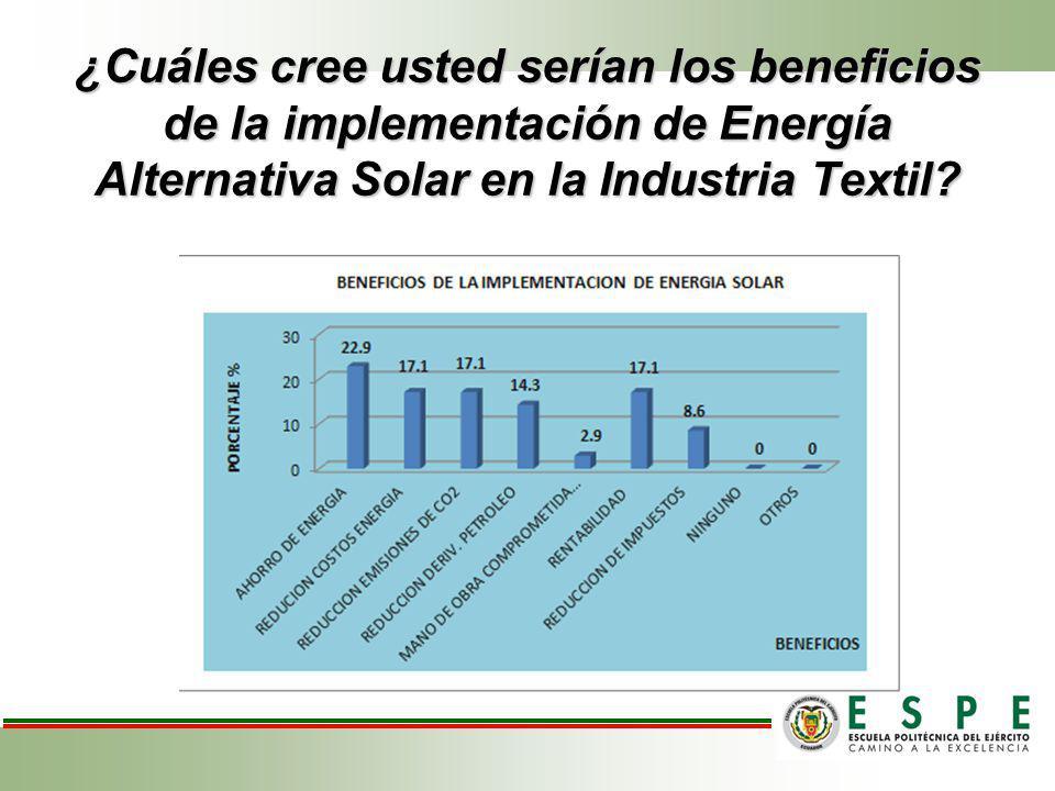 ¿Cuáles cree usted serían los beneficios de la implementación de Energía Alternativa Solar en la Industria Textil
