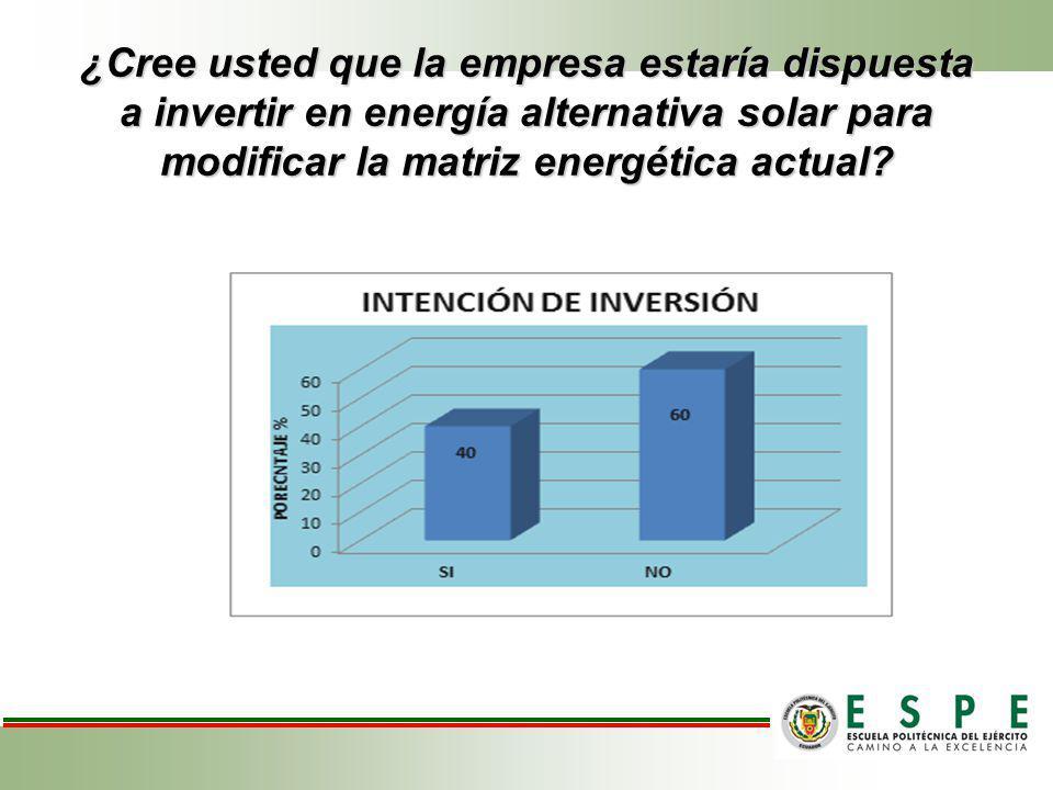 ¿Cree usted que la empresa estaría dispuesta a invertir en energía alternativa solar para modificar la matriz energética actual