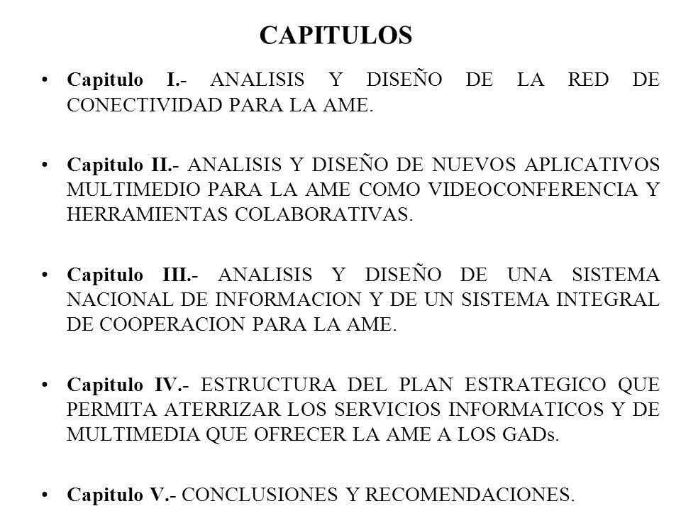 CAPITULOS Capitulo I.- ANALISIS Y DISEÑO DE LA RED DE CONECTIVIDAD PARA LA AME.