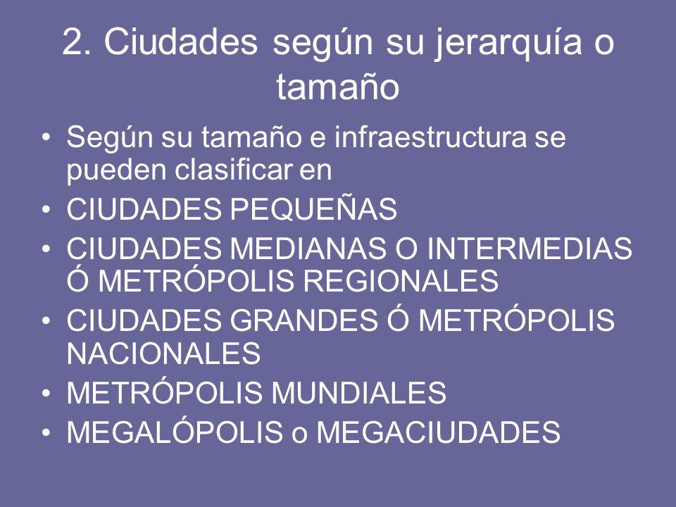 2. Ciudades según su jerarquía o tamaño