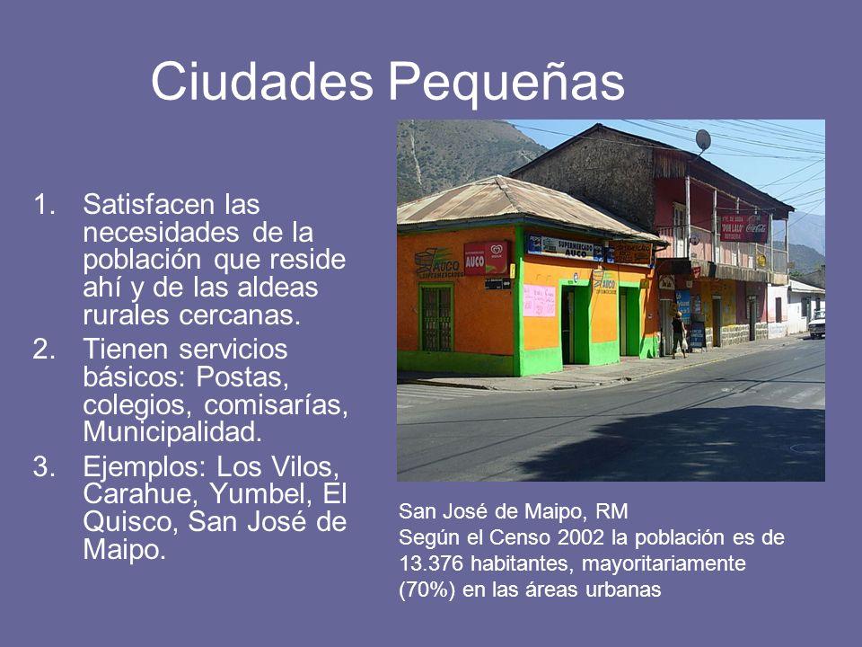 Ciudades Pequeñas Satisfacen las necesidades de la población que reside ahí y de las aldeas rurales cercanas.