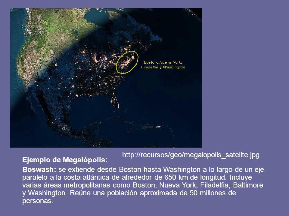 http://recursos/geo/megalopolis_satelite.jpg Ejemplo de Megalópolis:
