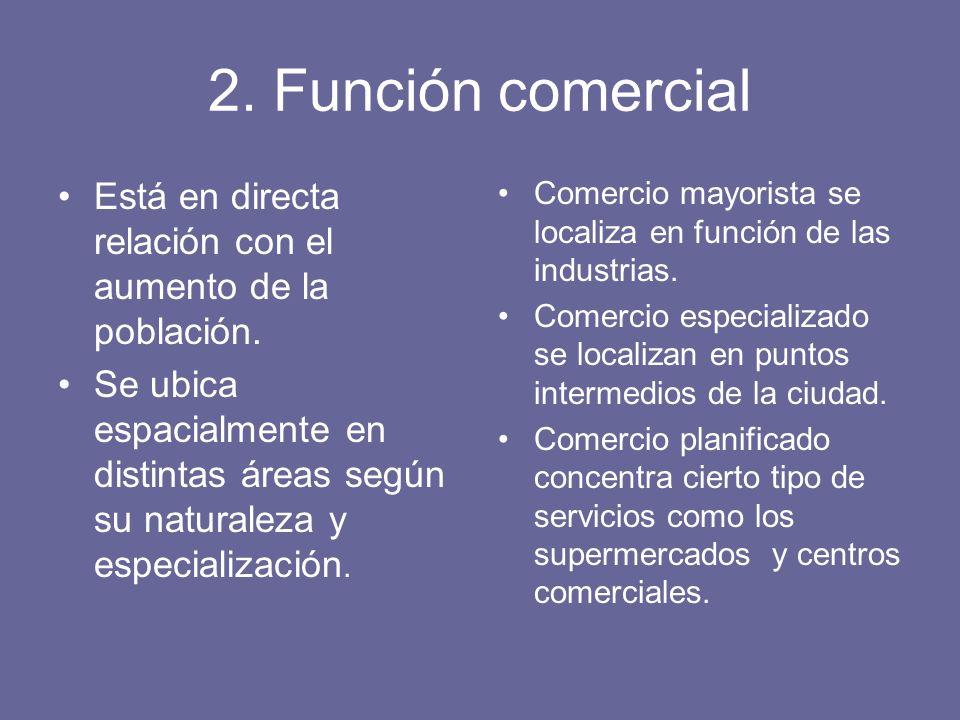 2. Función comercial Está en directa relación con el aumento de la población.