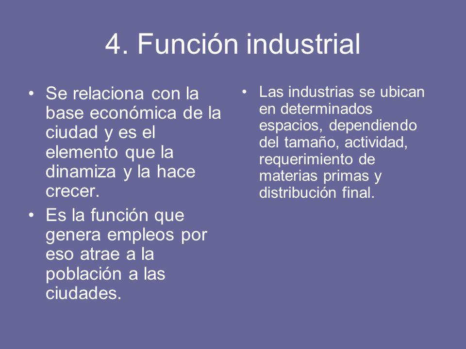 4. Función industrial Se relaciona con la base económica de la ciudad y es el elemento que la dinamiza y la hace crecer.