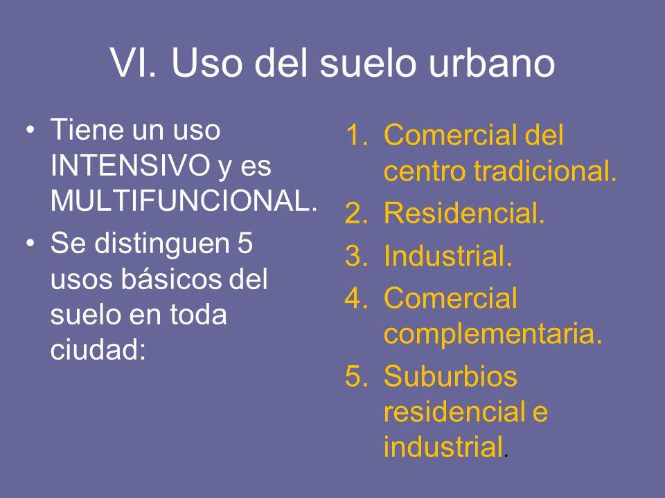 VI. Uso del suelo urbano Tiene un uso INTENSIVO y es MULTIFUNCIONAL.