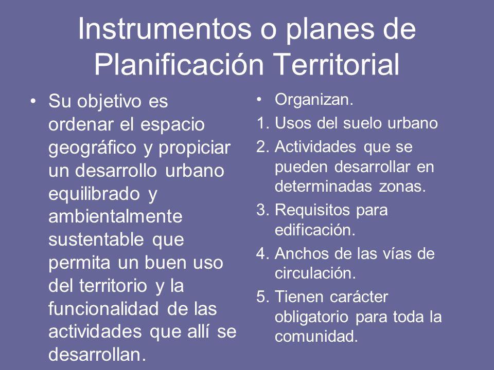 Instrumentos o planes de Planificación Territorial