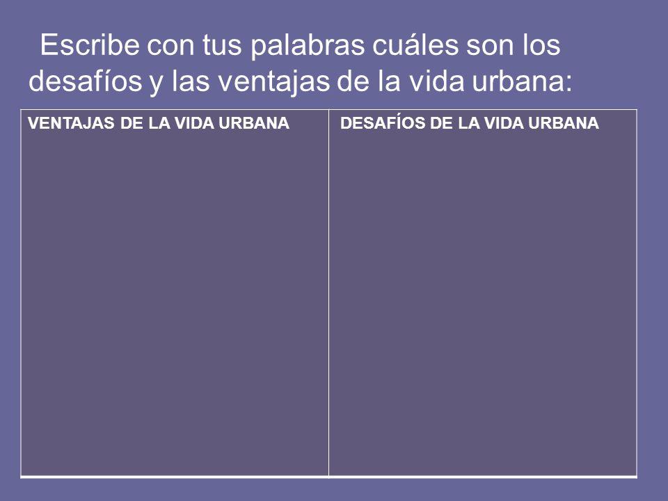 Escribe con tus palabras cuáles son los desafíos y las ventajas de la vida urbana: