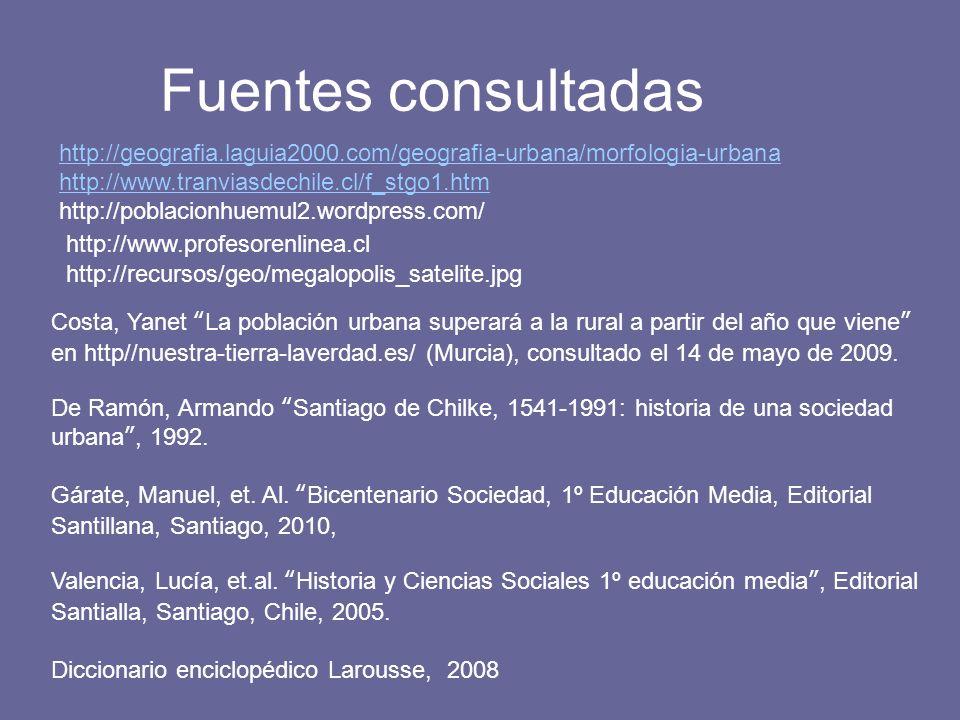 Fuentes consultadas http://geografia.laguia2000.com/geografia-urbana/morfologia-urbana. http://www.tranviasdechile.cl/f_stgo1.htm.
