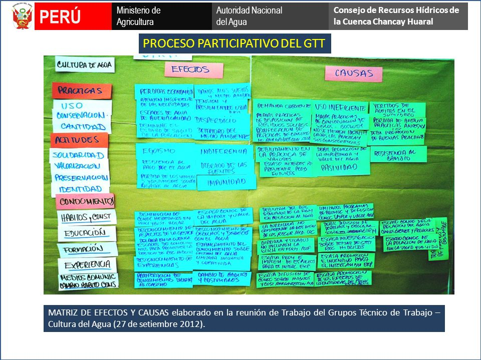 PERÚ PROCESO PARTICIPATIVO DEL GTT Ministerio de Agricultura