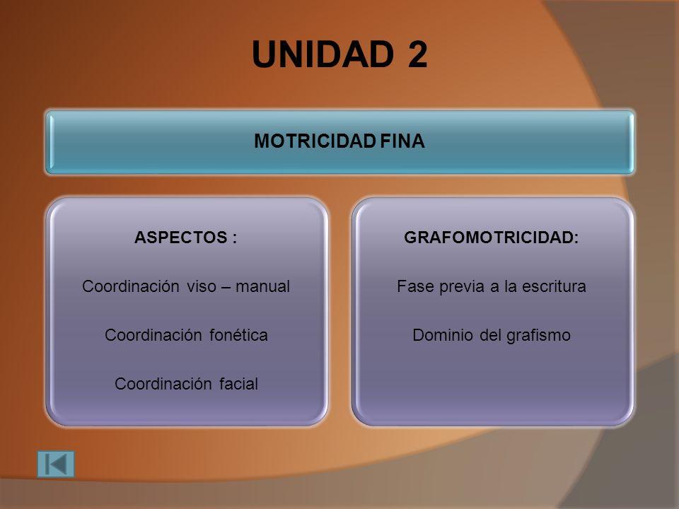UNIDAD 2 MOTRICIDAD FINA ASPECTOS : Coordinación viso – manual