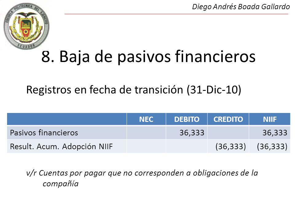 8. Baja de pasivos financieros