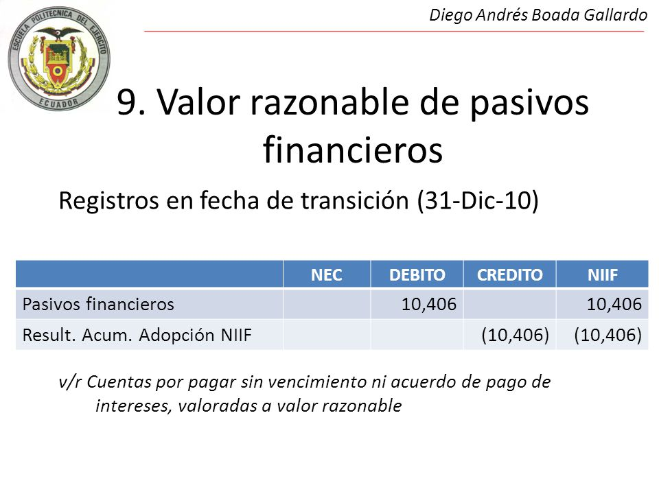 9. Valor razonable de pasivos financieros