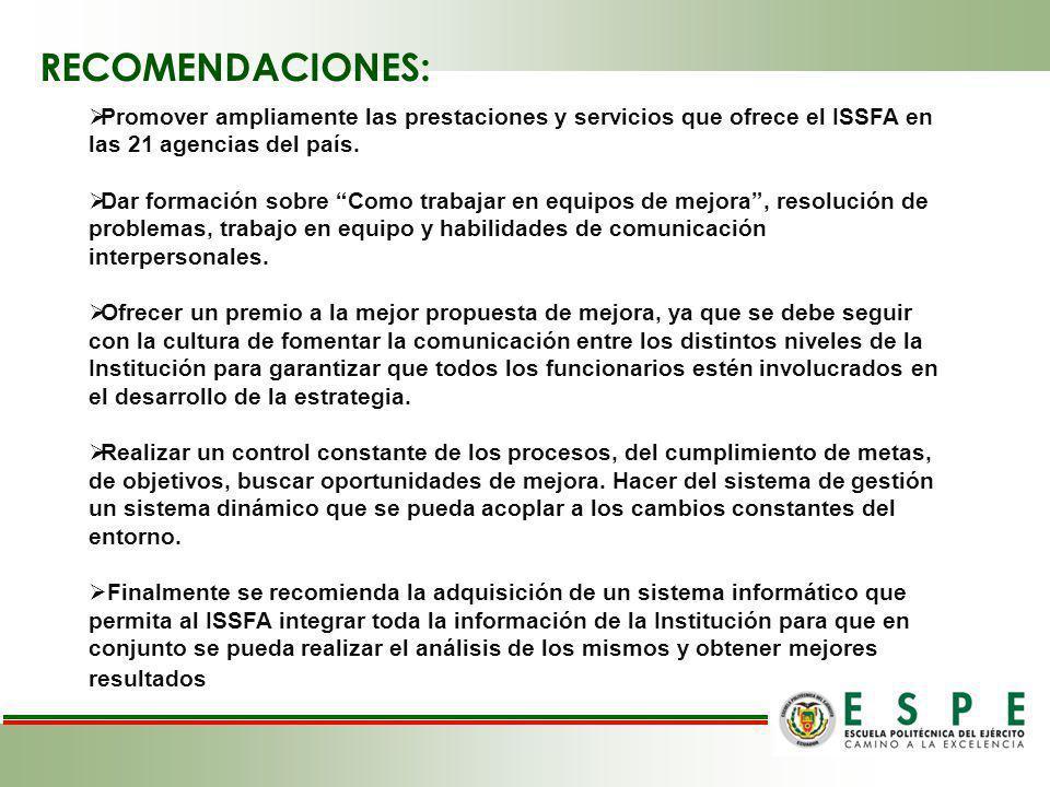 RECOMENDACIONES: Promover ampliamente las prestaciones y servicios que ofrece el ISSFA en las 21 agencias del país.