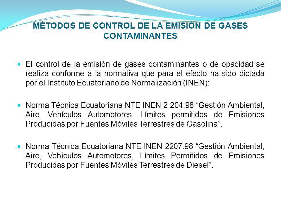 MÉTODOS DE CONTROL DE LA EMISIÓN DE GASES CONTAMINANTES