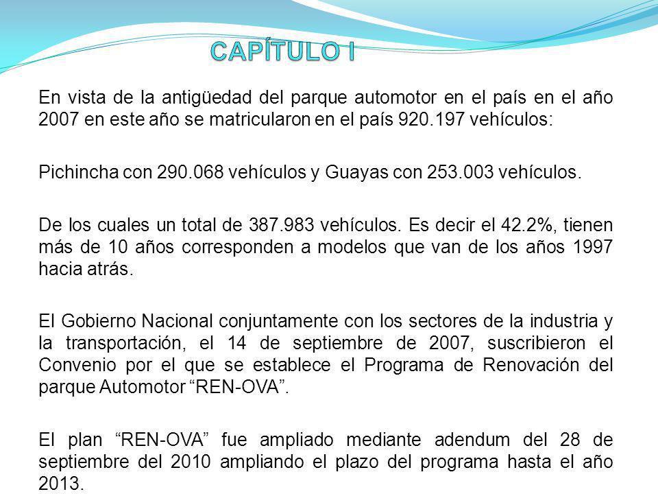 CAPÍTULO I En vista de la antigüedad del parque automotor en el país en el año 2007 en este año se matricularon en el país 920.197 vehículos: