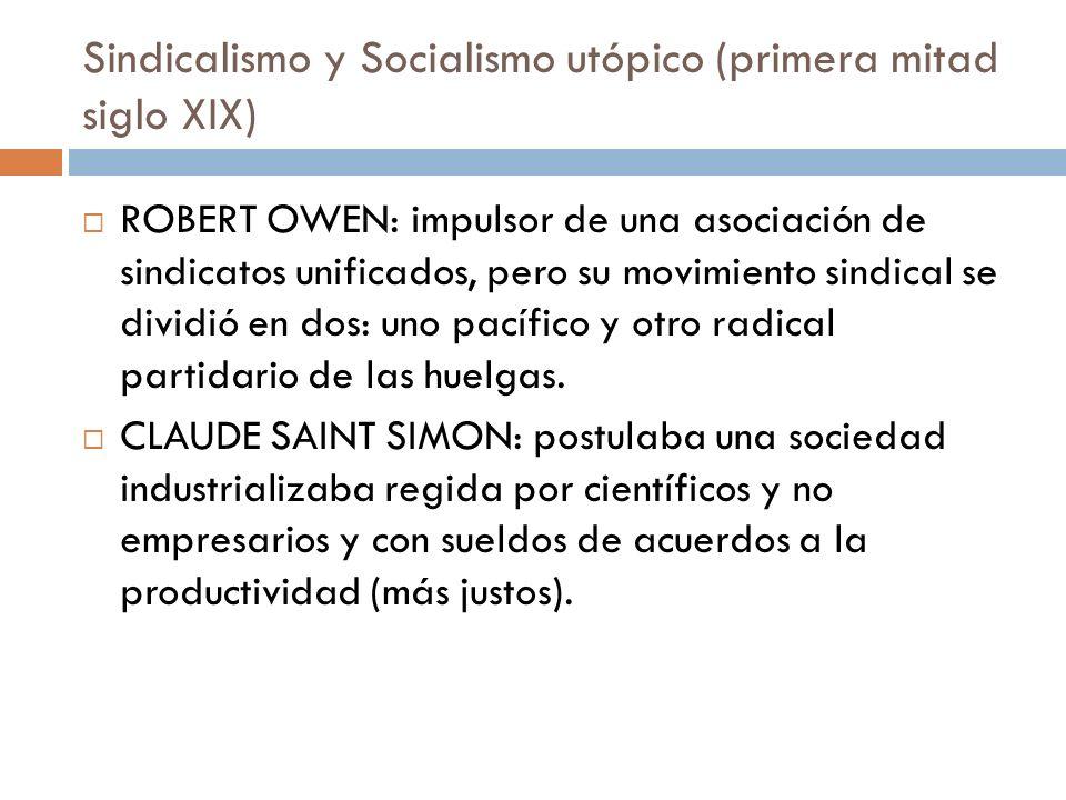 Sindicalismo y Socialismo utópico (primera mitad siglo XIX)