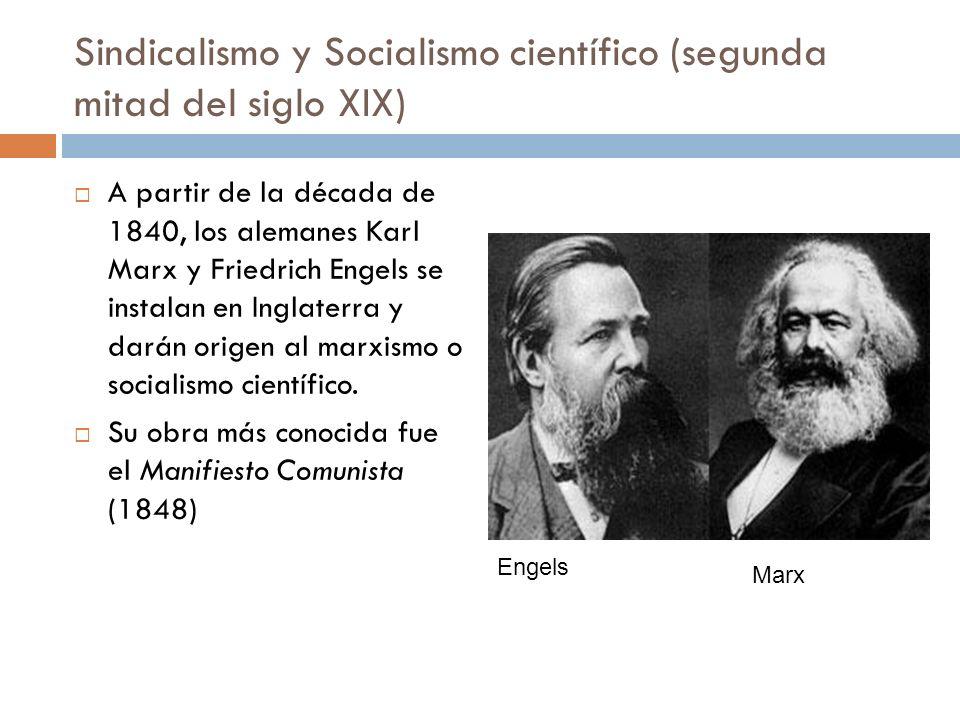 Sindicalismo y Socialismo científico (segunda mitad del siglo XIX)