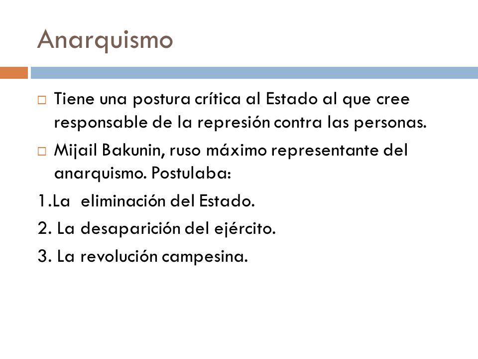 Anarquismo Tiene una postura crítica al Estado al que cree responsable de la represión contra las personas.