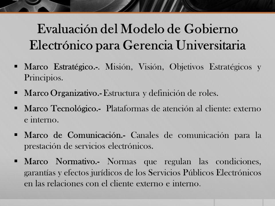 Evaluación del Modelo de Gobierno Electrónico para Gerencia Universitaria