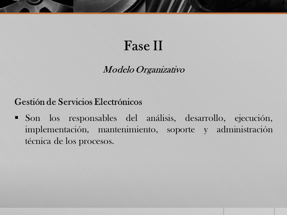 Fase II Modelo Organizativo Gestión de Servicios Electrónicos