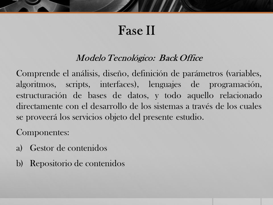 Modelo Tecnológico: Back Office
