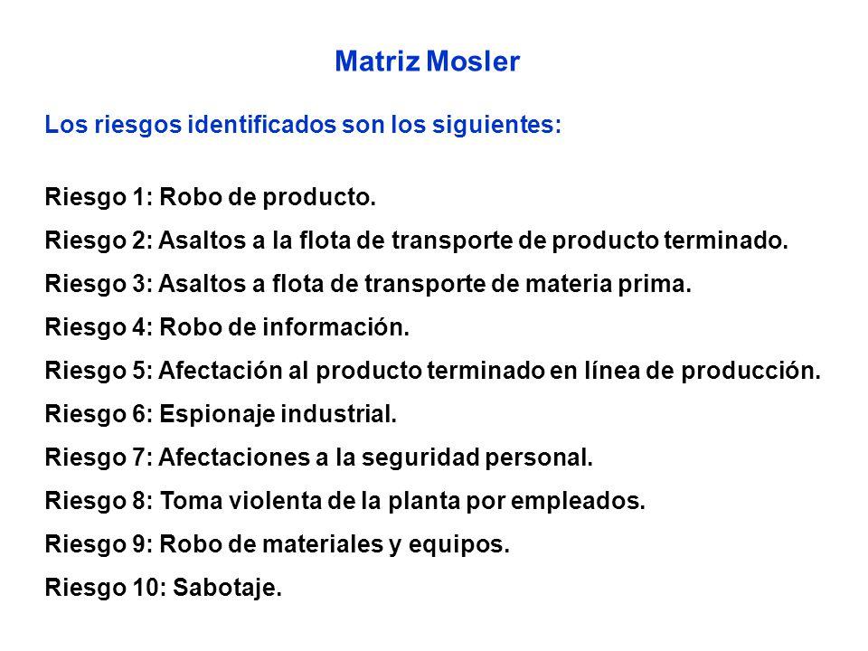 Matriz Mosler Los riesgos identificados son los siguientes: