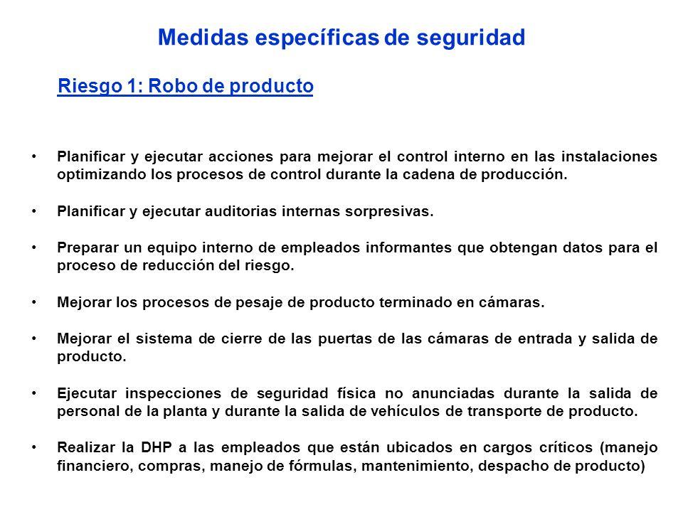 Medidas específicas de seguridad Riesgo 1: Robo de producto