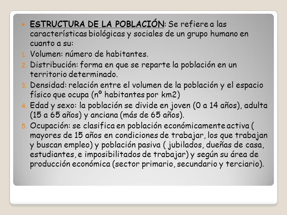 ESTRUCTURA DE LA POBLACIÓN: Se refiere a las características biológicas y sociales de un grupo humano en cuanto a su: