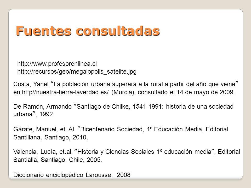 Fuentes consultadas http://www.profesorenlinea.cl