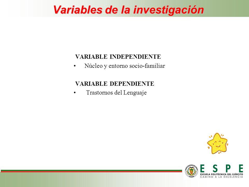 Variables de la investigación