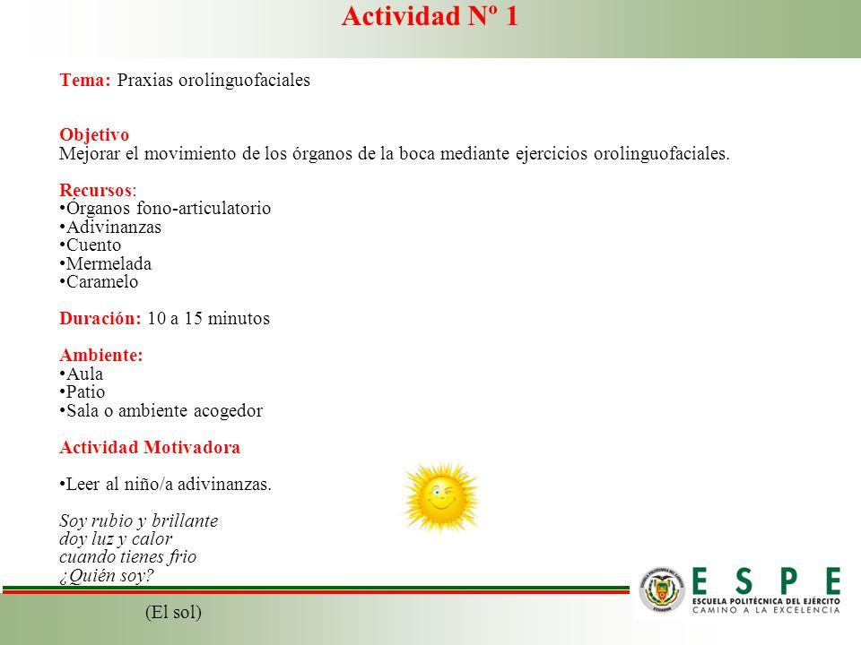 Actividad Nº 1 Tema: Praxias orolinguofaciales Objetivo