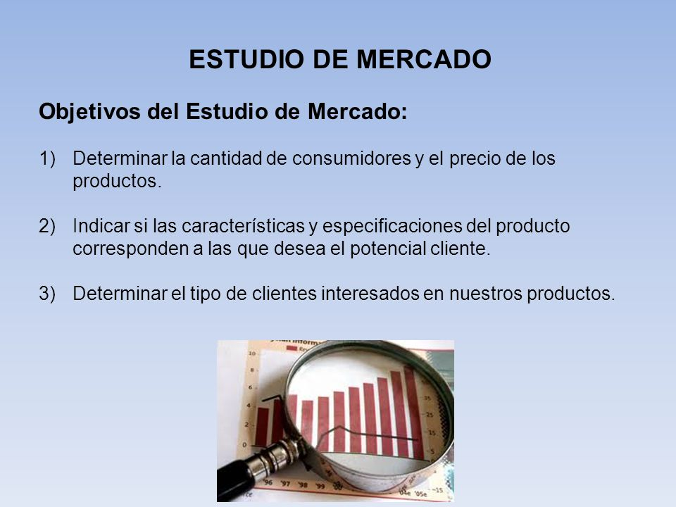 ESTUDIO DE MERCADO Objetivos del Estudio de Mercado: