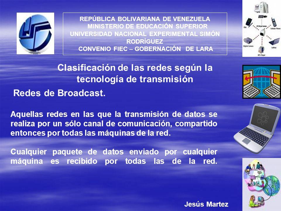 Clasificación de las redes según la tecnología de transmisión