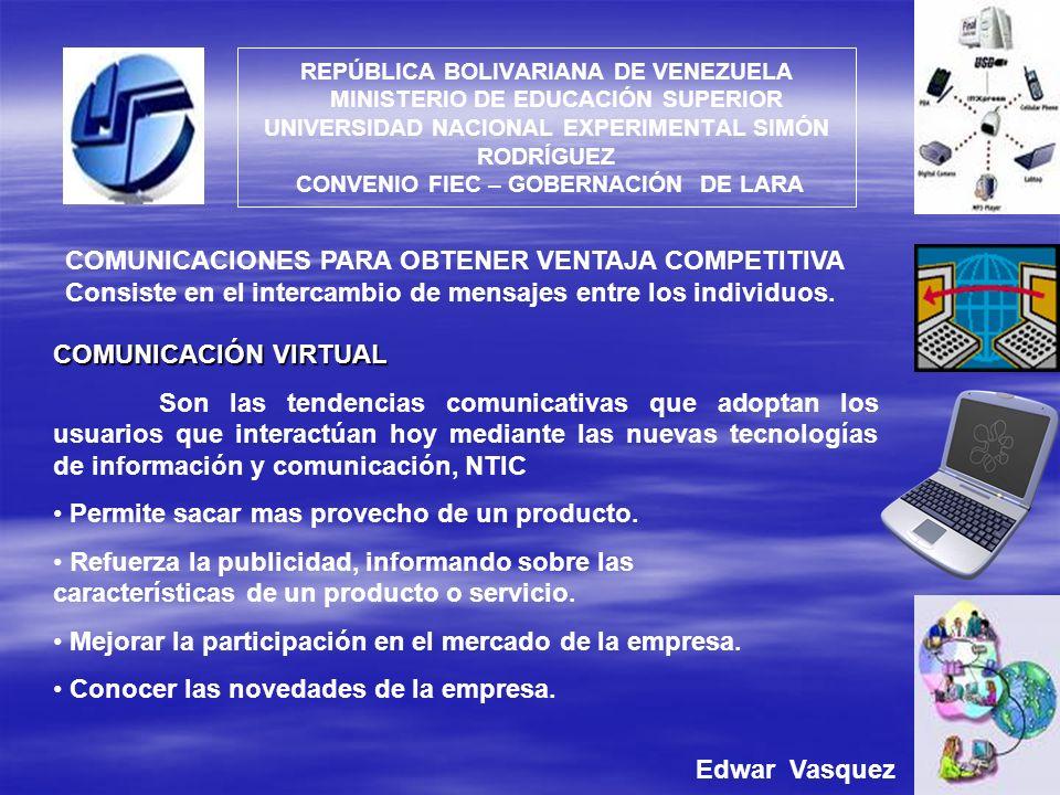 COMUNICACIONES PARA OBTENER VENTAJA COMPETITIVA