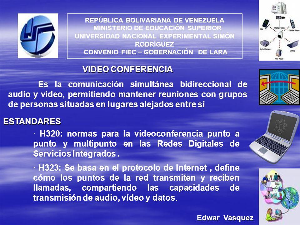 REPÚBLICA BOLIVARIANA DE VENEZUELA MINISTERIO DE EDUCACIÓN SUPERIOR UNIVERSIDAD NACIONAL EXPERIMENTAL SIMÓN RODRÍGUEZ CONVENIO FIEC – GOBERNACIÓN DE LARA