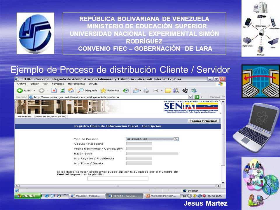 Ejemplo de Proceso de distribución Cliente / Servidor