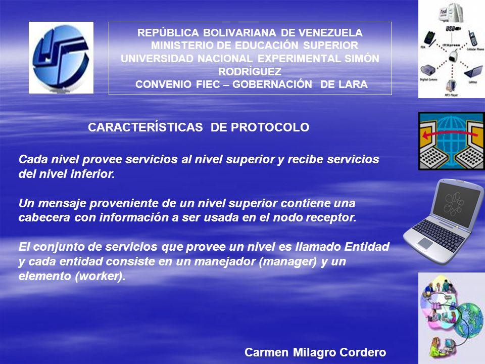 CARACTERÍSTICAS DE PROTOCOLO