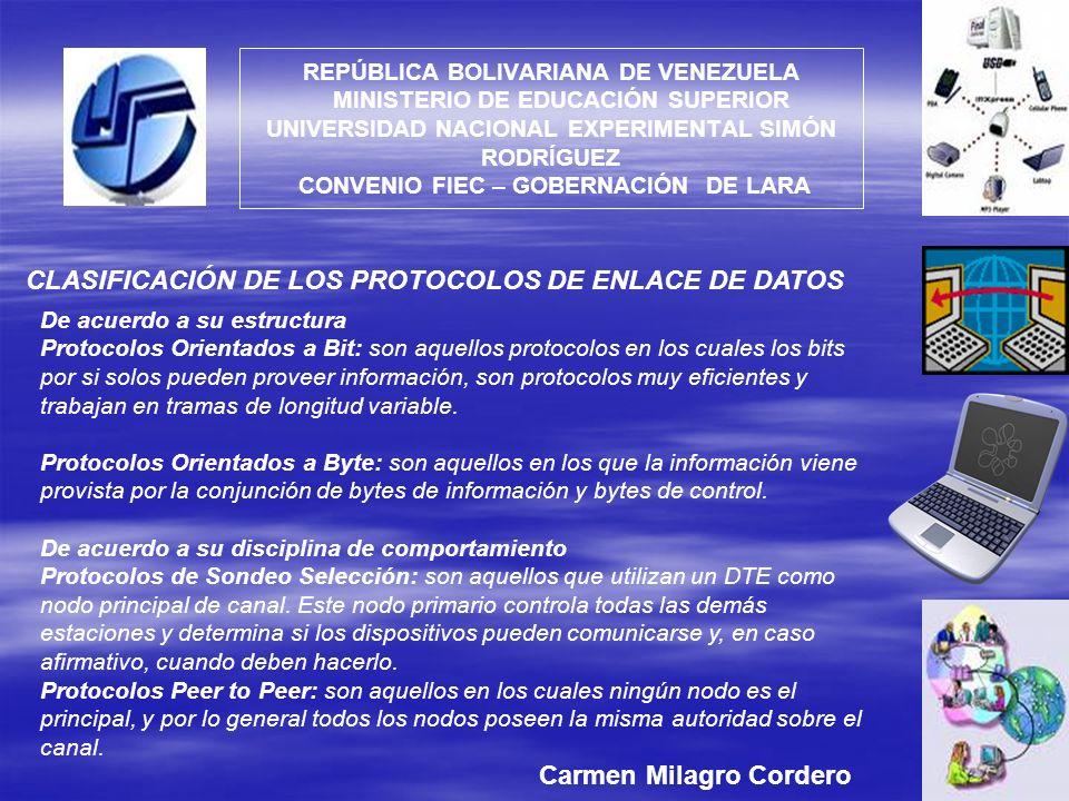 CLASIFICACIÓN DE LOS PROTOCOLOS DE ENLACE DE DATOS