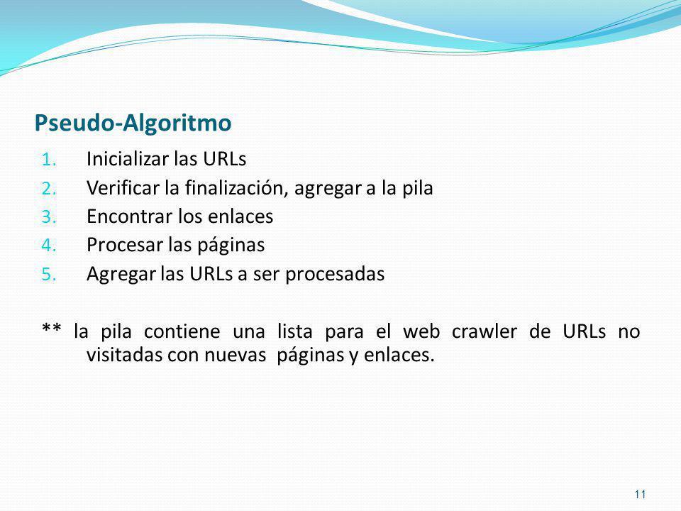 Pseudo-Algoritmo Inicializar las URLs