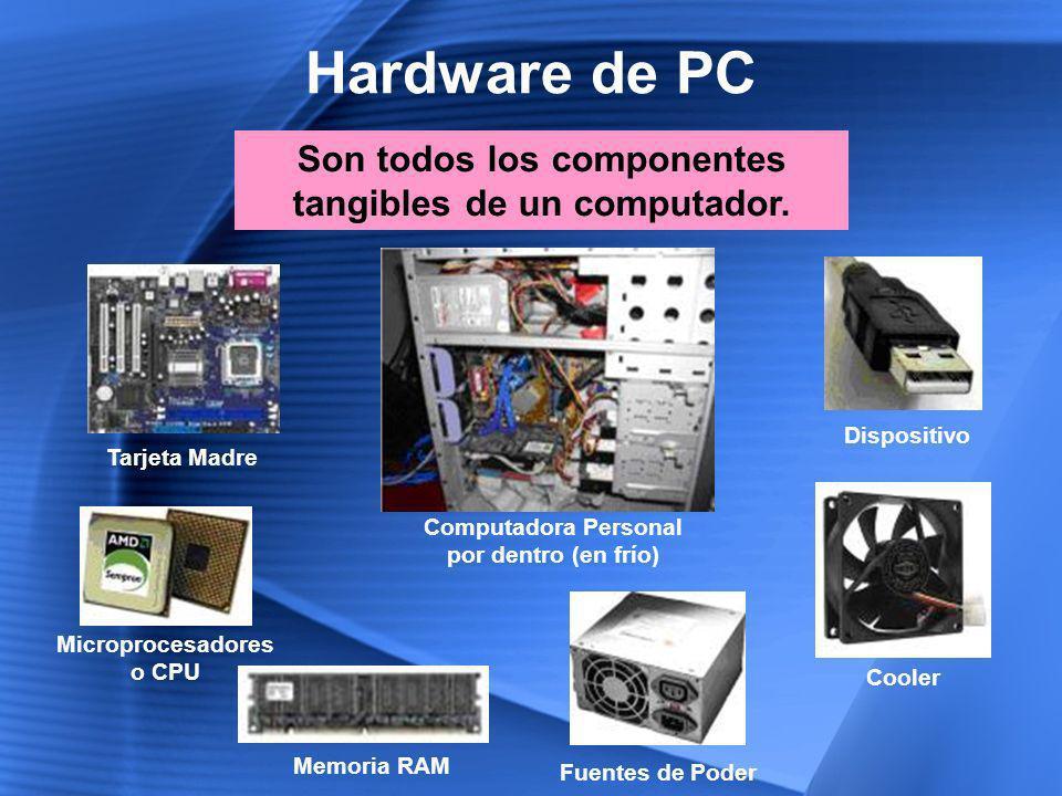 Hardware de PC Son todos los componentes tangibles de un computador.