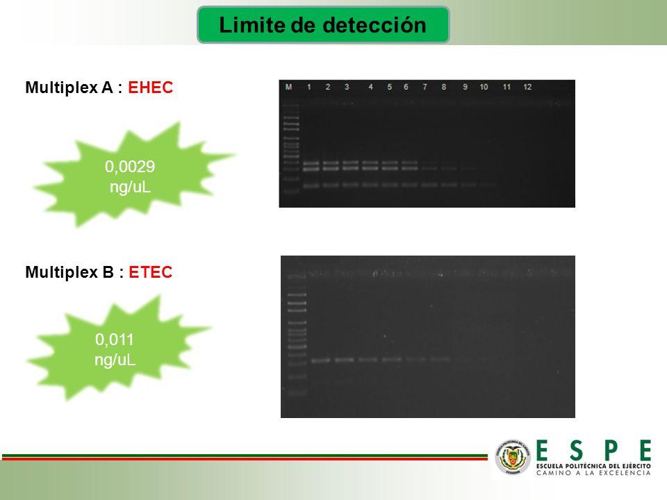 Limite de detección Multiplex A : EHEC 0,0029 ng/uL Multiplex B : ETEC