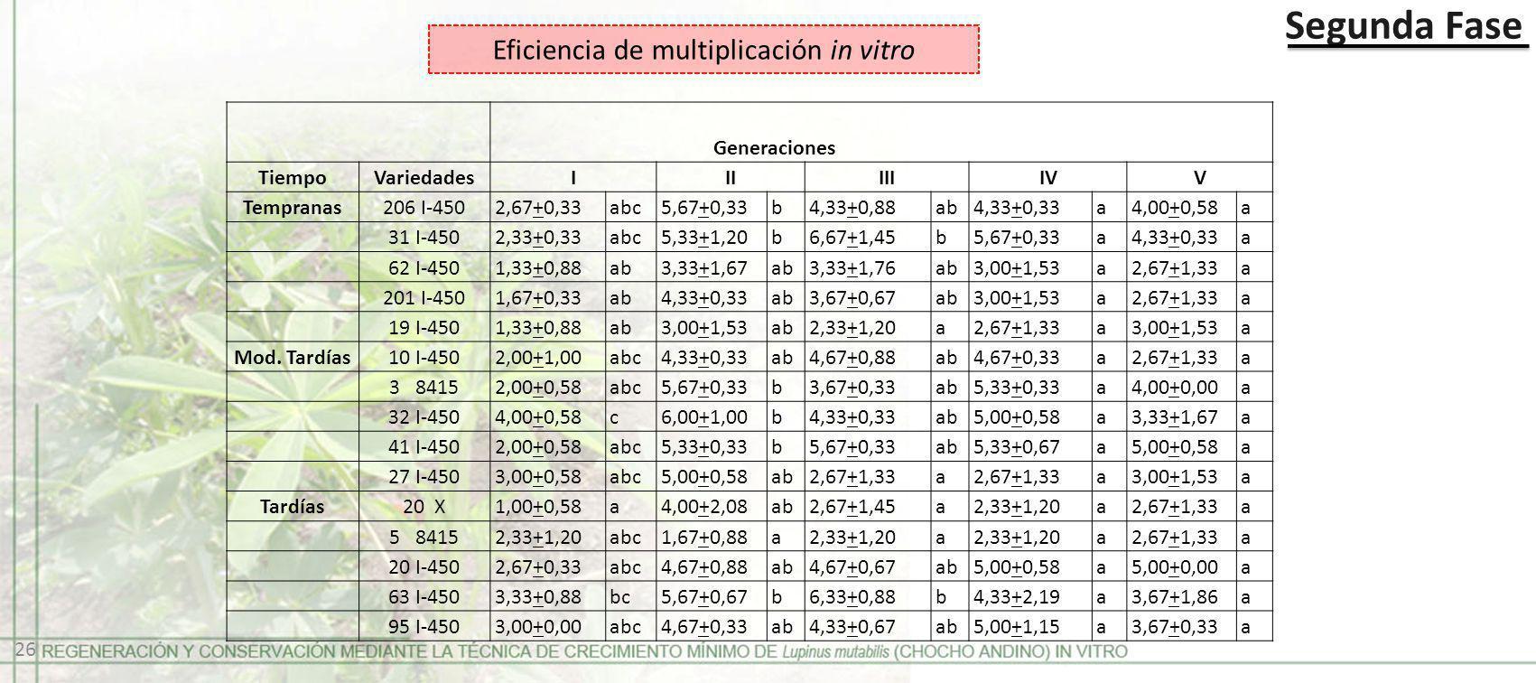 Eficiencia de multiplicación in vitro