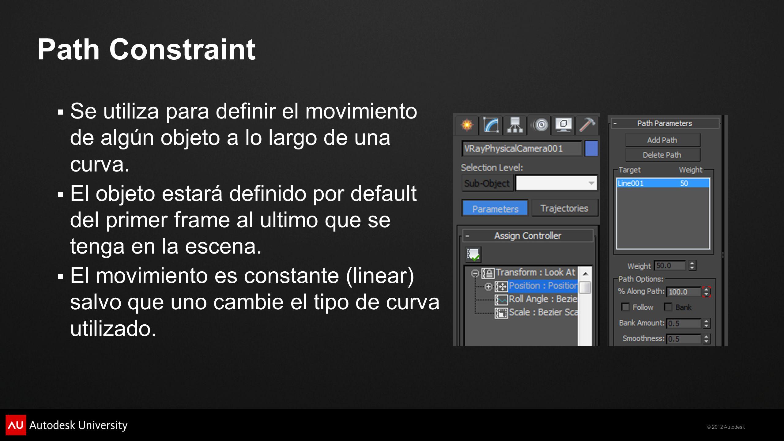 Path Constraint Se utiliza para definir el movimiento de algún objeto a lo largo de una curva.